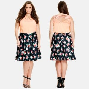 City Chic, Candy Bloom Pleat Skirt, Floral, XS